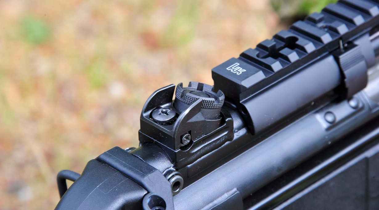 Rear sight on a Heckler & Koch SP5K semi-automatic pistol