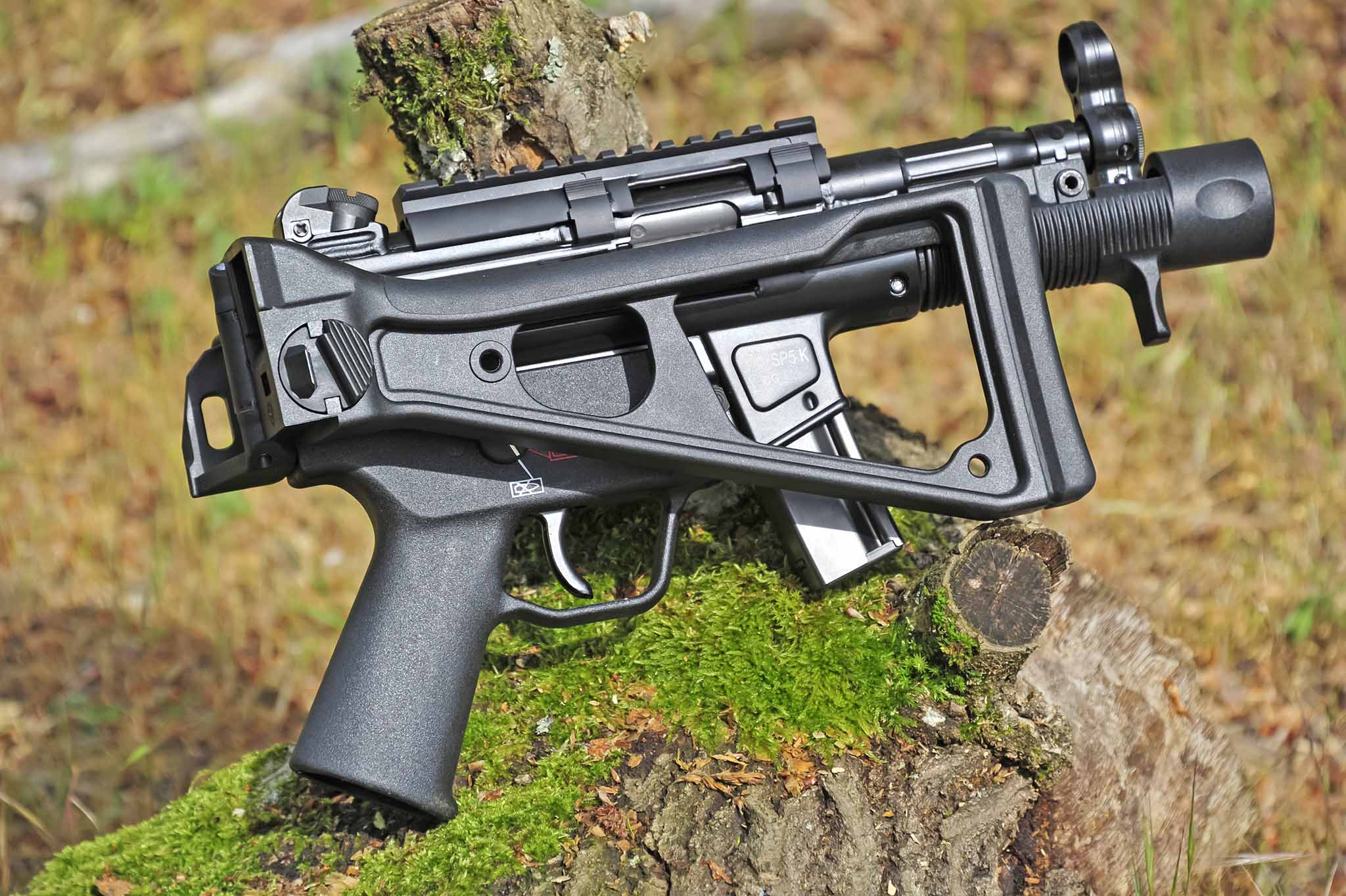 Right side of the Heckler & Koch SP5K semi-automatic pistol, with stock folded