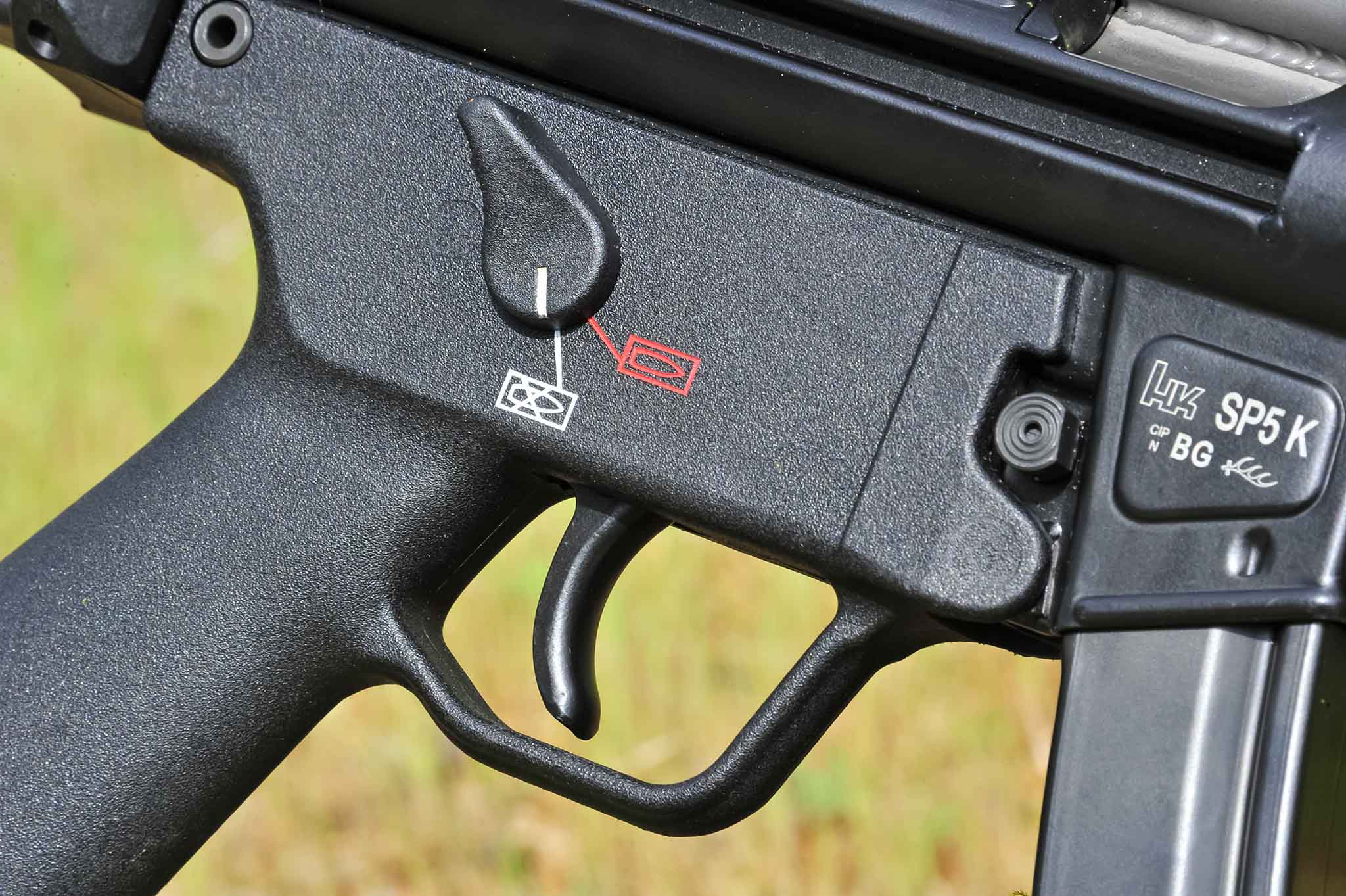 Manual two-position safety switch on the Heckler & Koch SP5K pistol