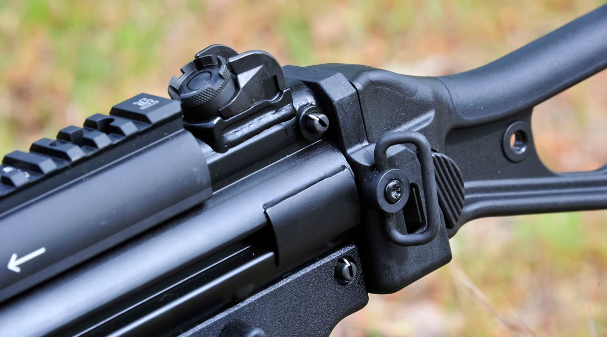 Rear sight and sling ring on a Heckler & Koch SP5K semi-automatic pistol