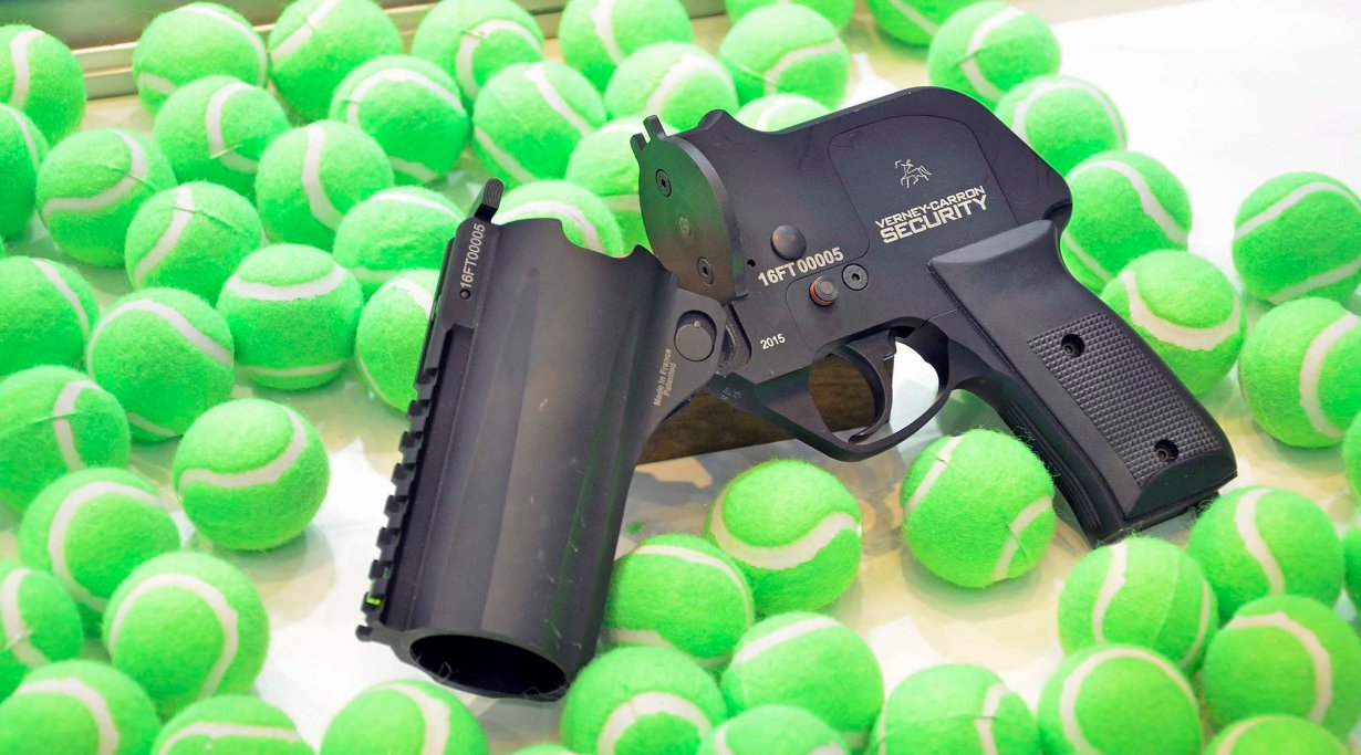 Verney Carron less lethal - golf ball launcher at Enforcetac 2016