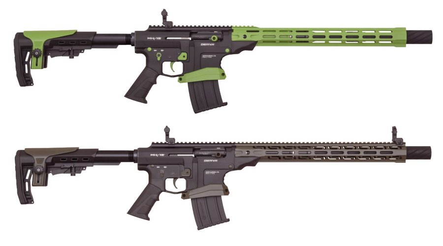 "DERYA MK12 Special Edition in ""Zombie Green"" (oben) und ""O.D. Green"""