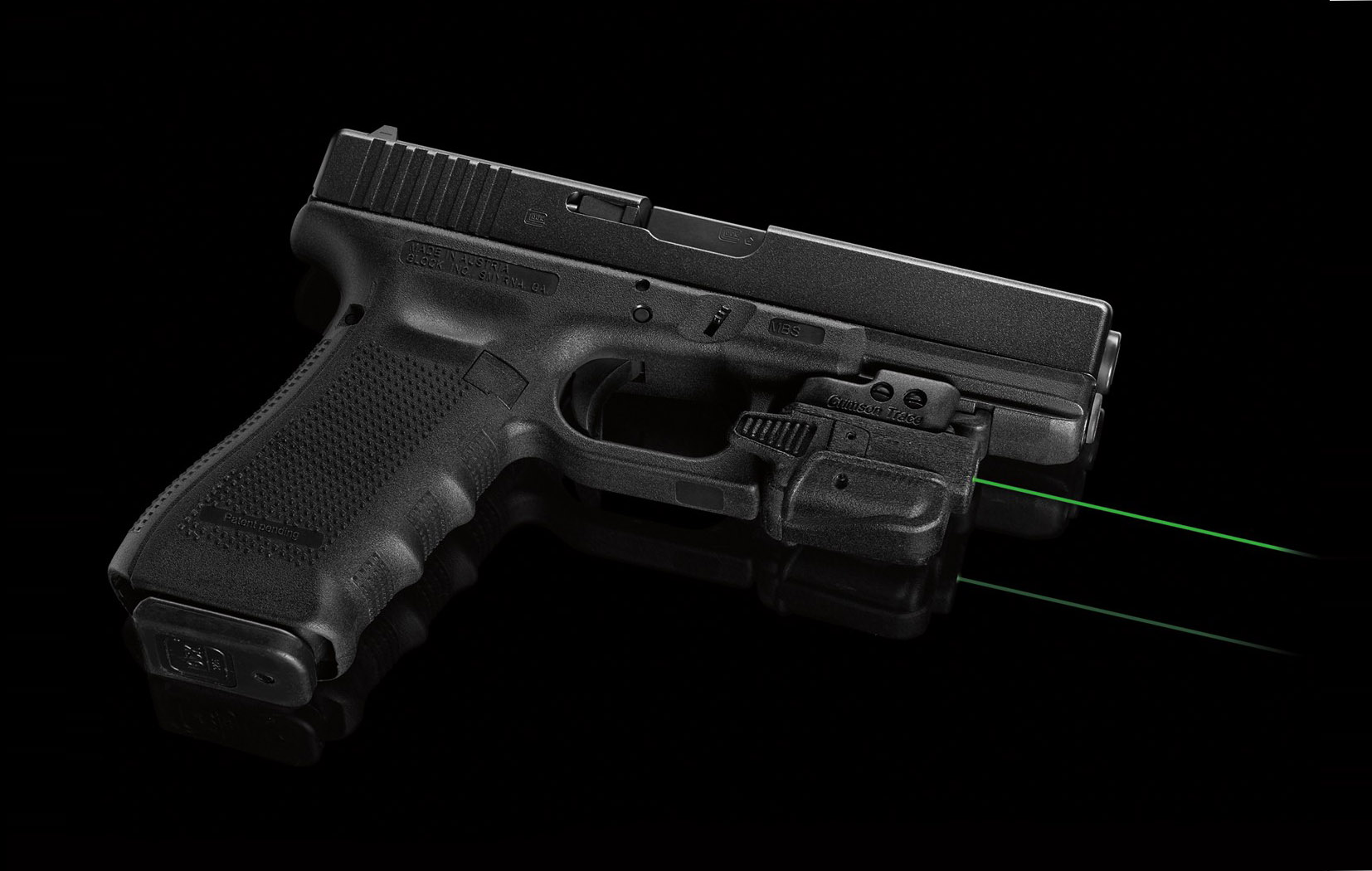 The Crimson Trace CMR-203 Green Laser Sight on a Gen 4 Glock