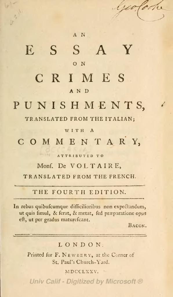 cesare beccaria essay on crimes and punishments summary It should be noted, however, that the constructive element of deism was an essay on crimes and punishments cesare beccaria summary not unique to deism.