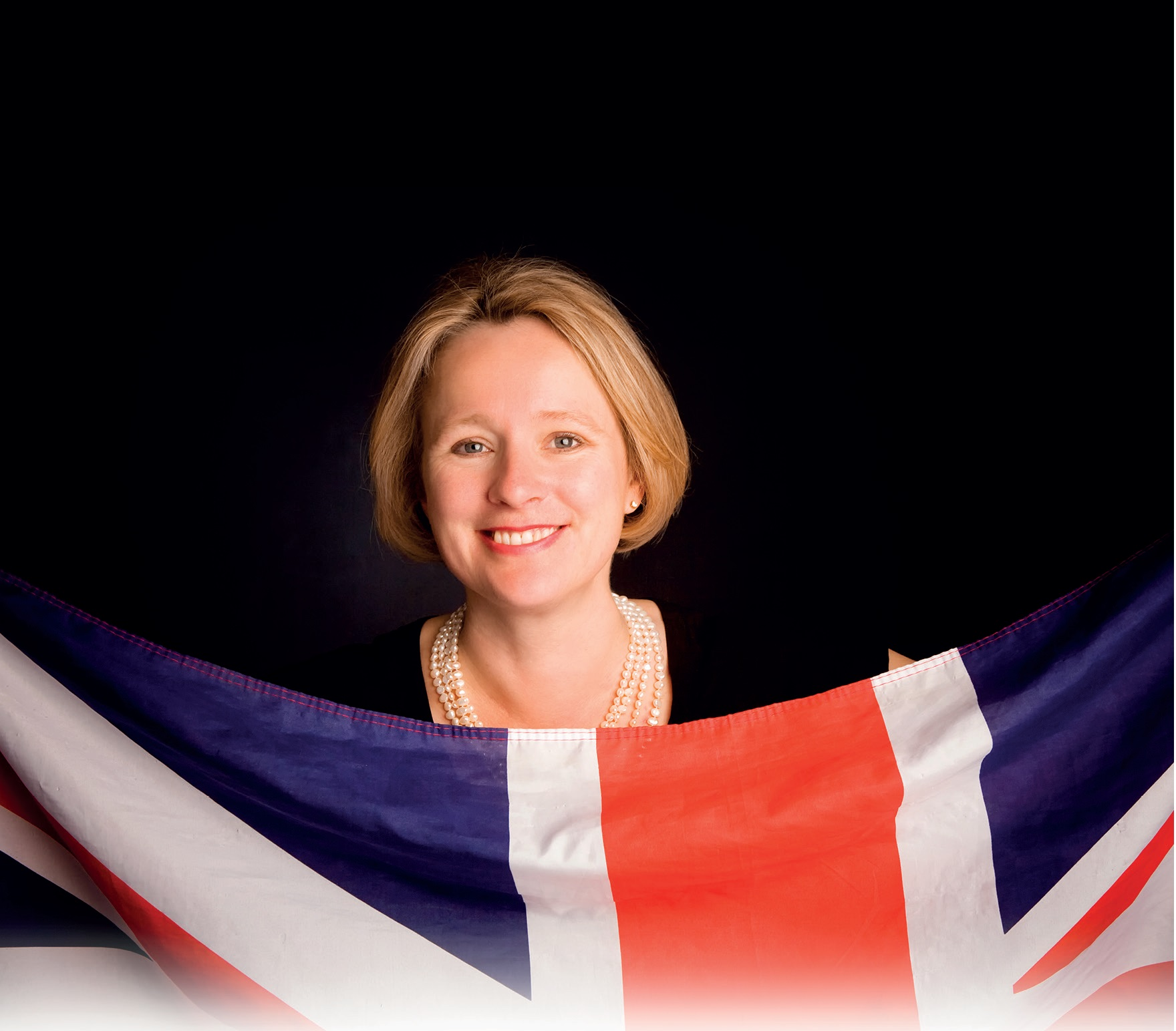 British MEP Vicky Ford holds a Union Jack flag