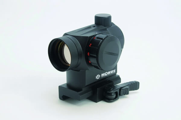 The Konus Sight-Pro Atomic QR #7215 is an extremely sturdy tactical collimator, featuring a 4 MOA red dot