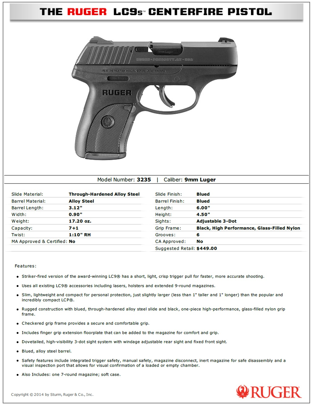 Image result for ruger lc9s pro specs
