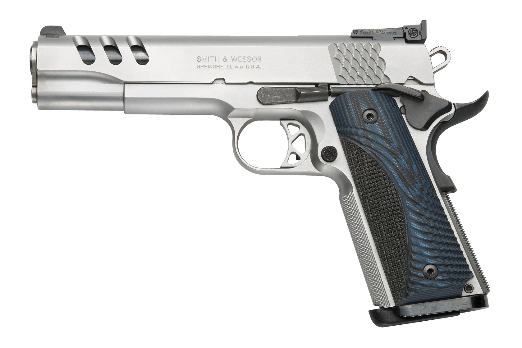 The Performance Center Custom SW1911 .45 ACP pistol, with a Stainless Steel frame &  slide