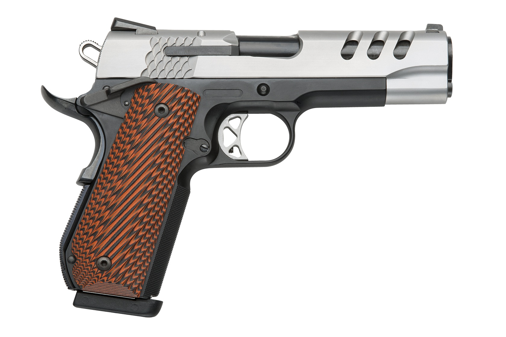 The Performance Center Round Butt SW1911 pistol, using a Commander-length Scandium frame