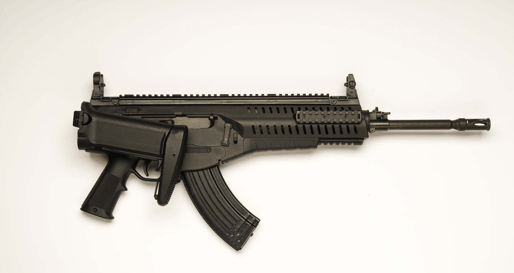 A view of the ARX 160  assault rifle  from the right side, with the stock folded
