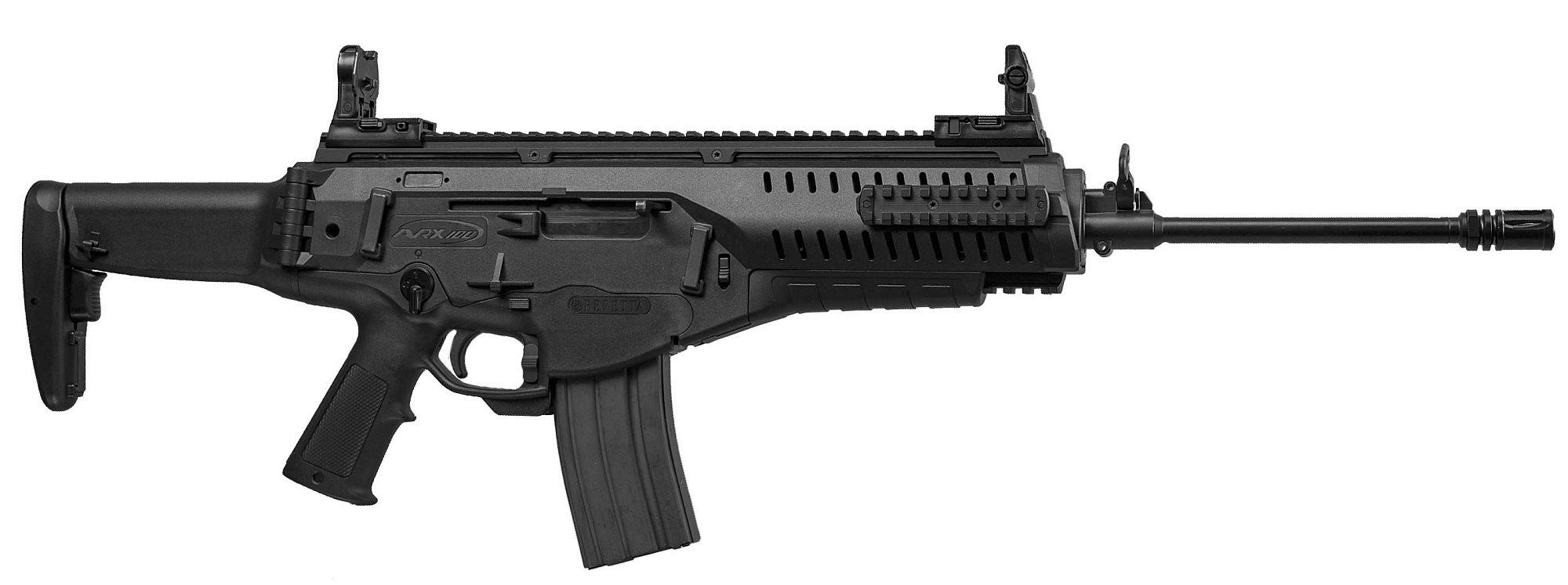 The Beretta ARX-100 semi-automatic rifle is chambered for the .223-Remington cartridge