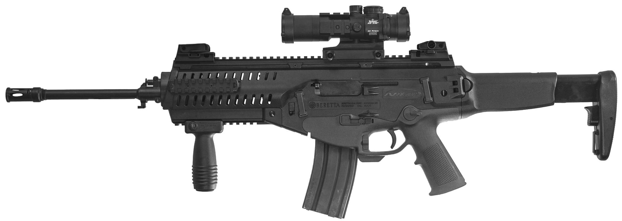 The ARX-100 retains the modular features of the ARX-160 assault rifle, including the quick-change barrel system