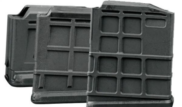 Durable, rugged, smooth-feeding glass-filled nylon magazines are available in ten-round, five-round, and three-round capacities as aftermarket accessories