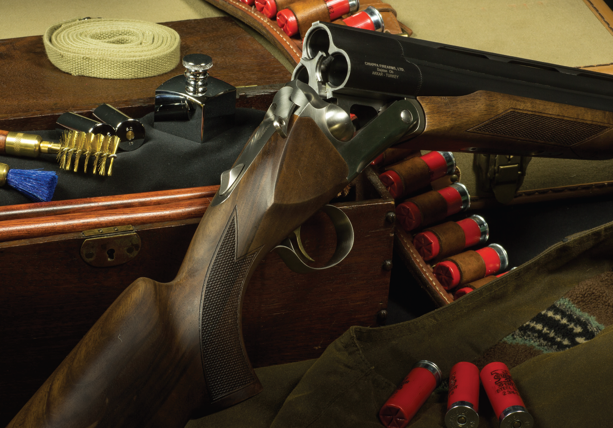 The massive breech of Chiappa's three-barrel shotguns is made in Turkey by AKKAR