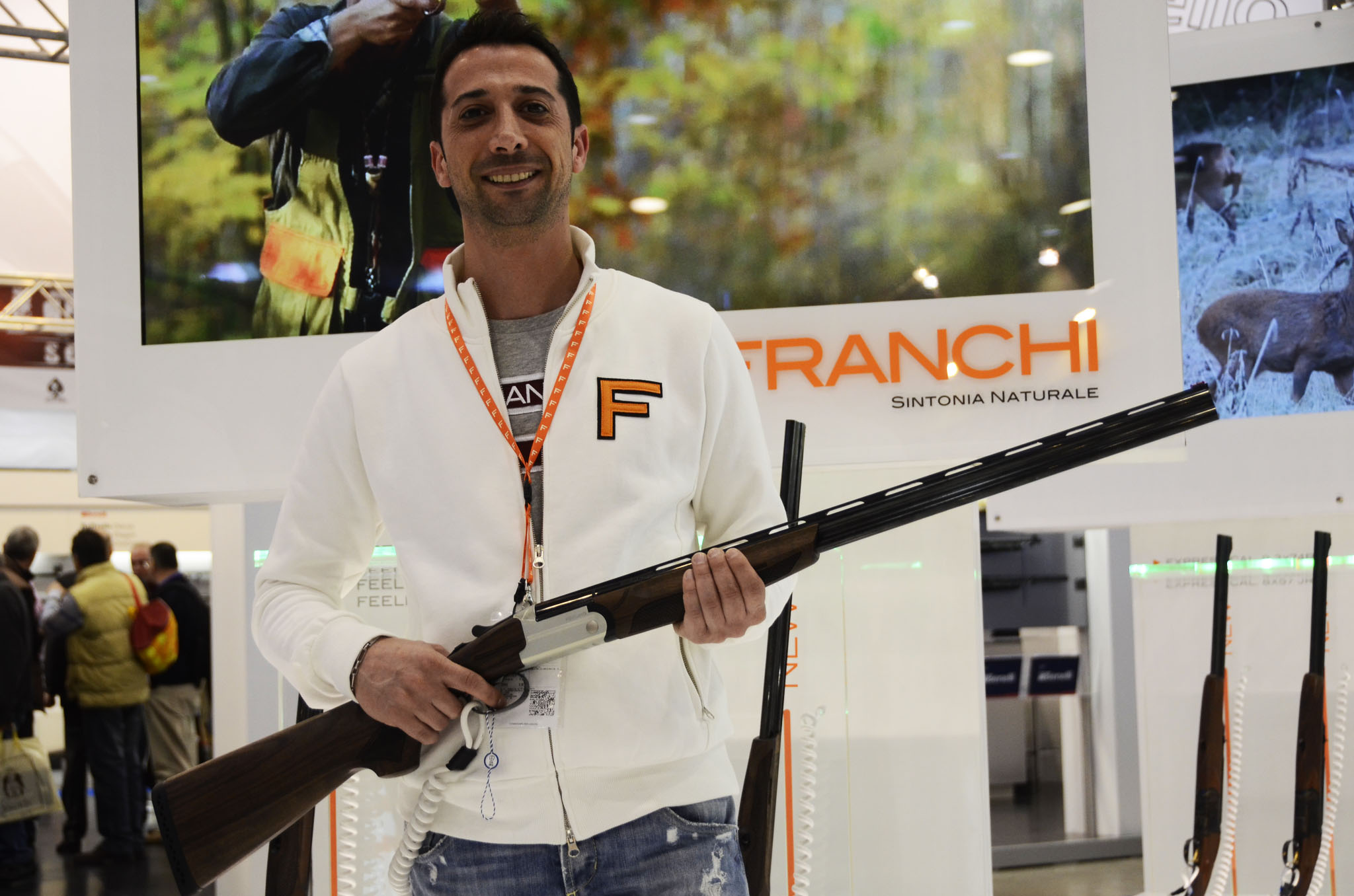 Matteo Masserdotti, of the sales office of Franchi, shows the new shotgun Franchi Feeling cal. .410