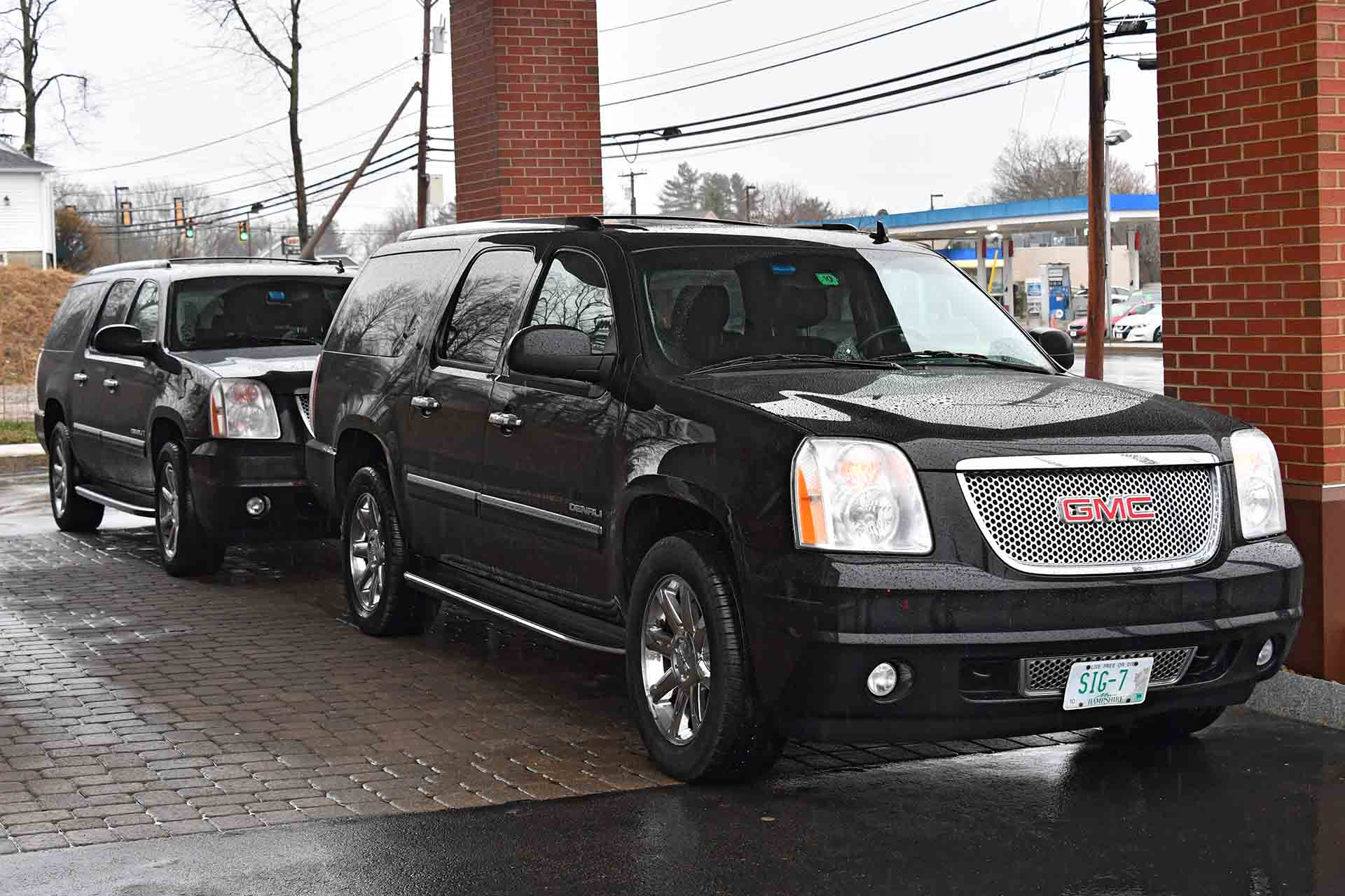 SIG Sauer Academy uses GMC Denali SUVs with custom SIG license plates.