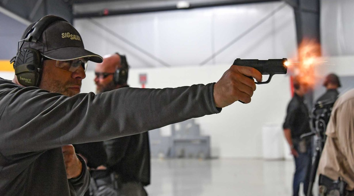Live fire testing the SIG Sauer P365 9mm pistol at the SIG Sauer Academy in USA