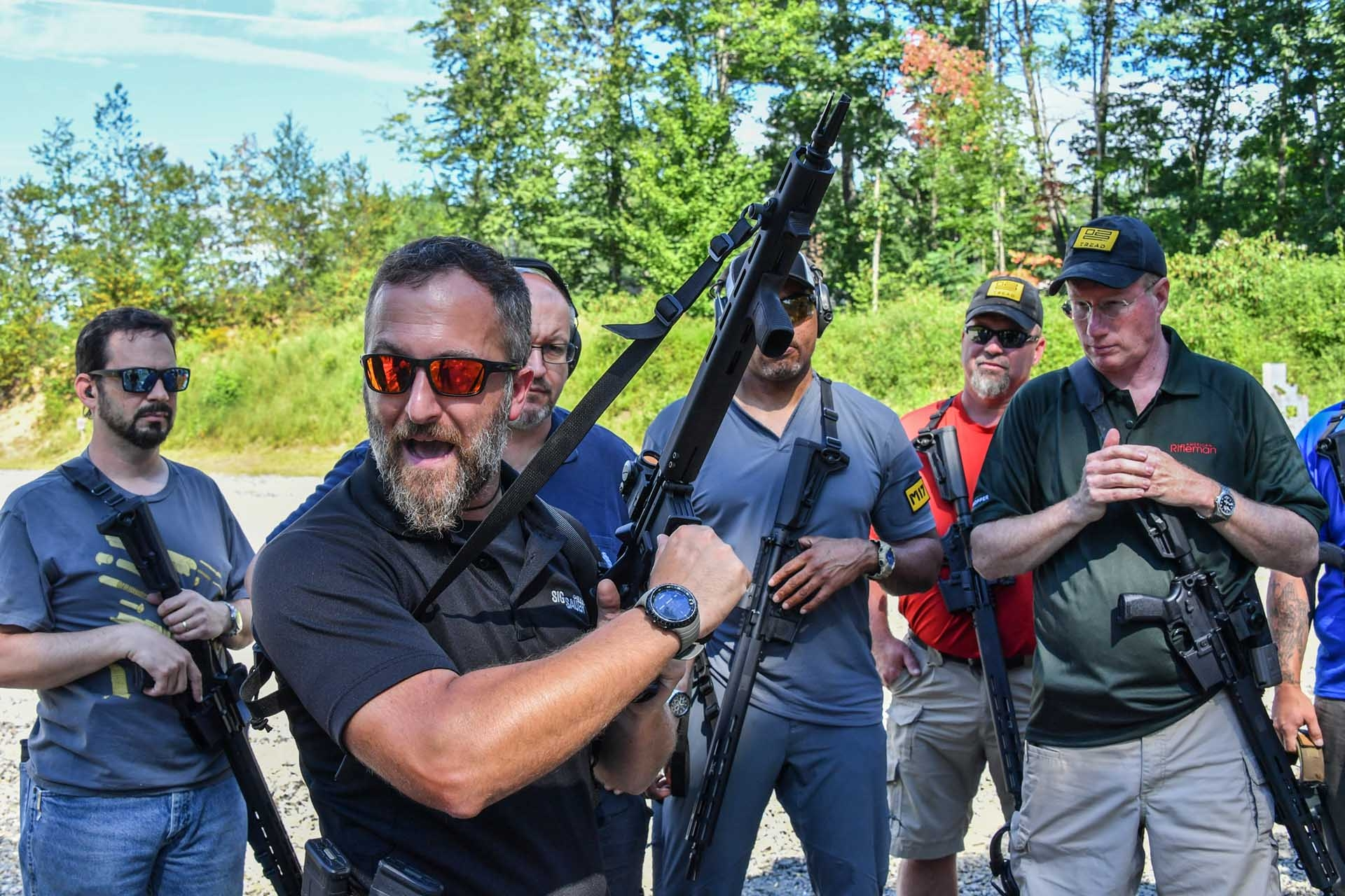 SIG instructors brief the media on the features of the SIG Sauer M400 TREAD