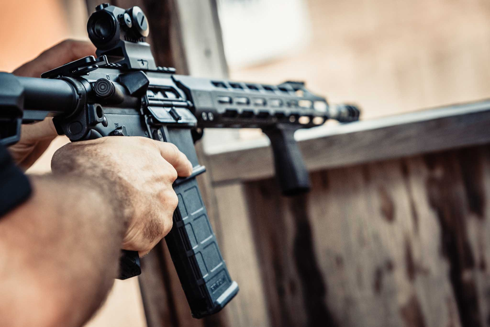 The SIG Sauer M400 TREAD rifle during live fire