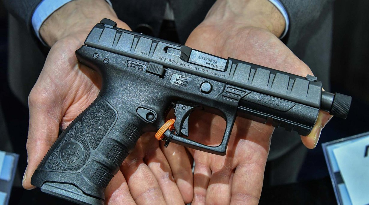 Beretta APX polymer pistol with elongated barrel