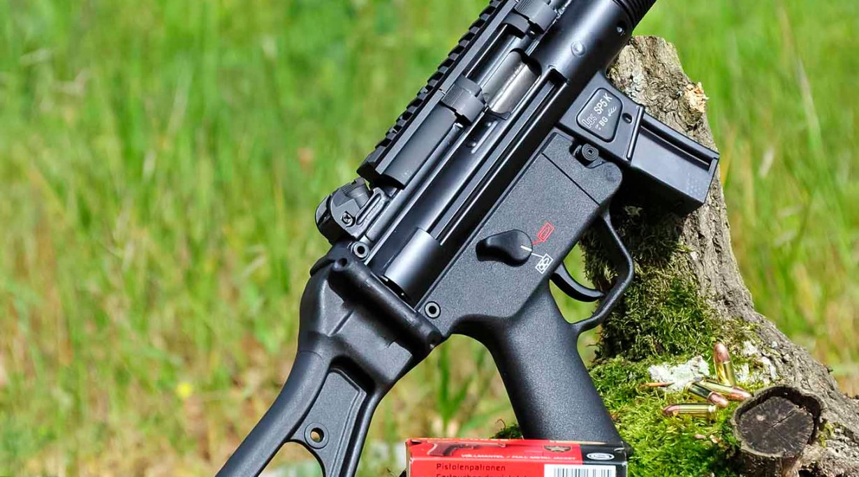 Right side of the Heckler & Koch SP5K semi-automatic pistol, with stock unfolded