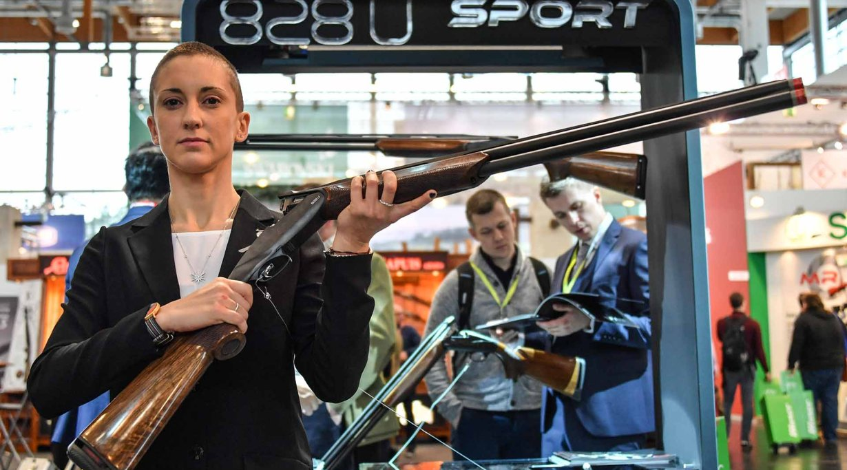 Benelli 828U Sport 12 gauge break action over-and-under shotgun at IWA 2018