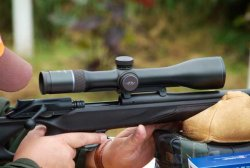 Blaser Infinity riflescope mounted on hunting rifle