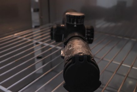 The Minox ZP riflescope is placed in the climatic chamber for a cold test.