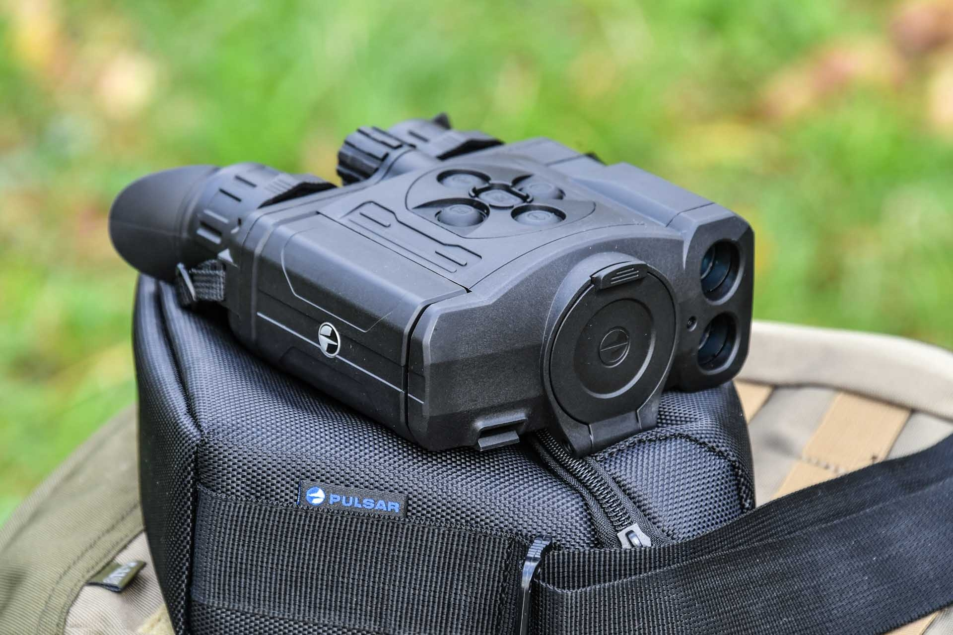 Pulsar Accolade XP50 LRF thermal binoculars with its Cordura carry case.