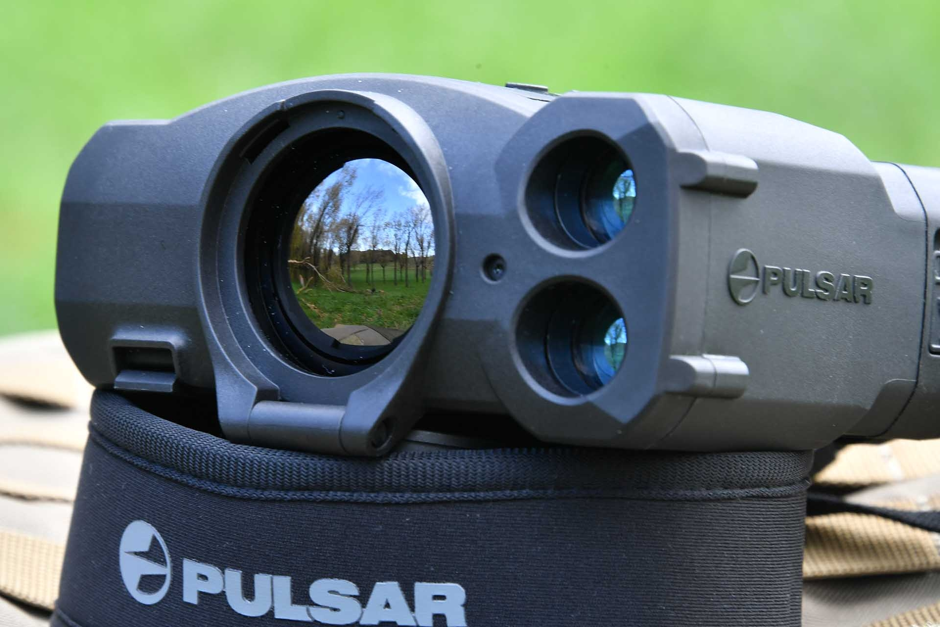 The Germanium front objective lens of the Pulsar Accolade XP50 LRF.