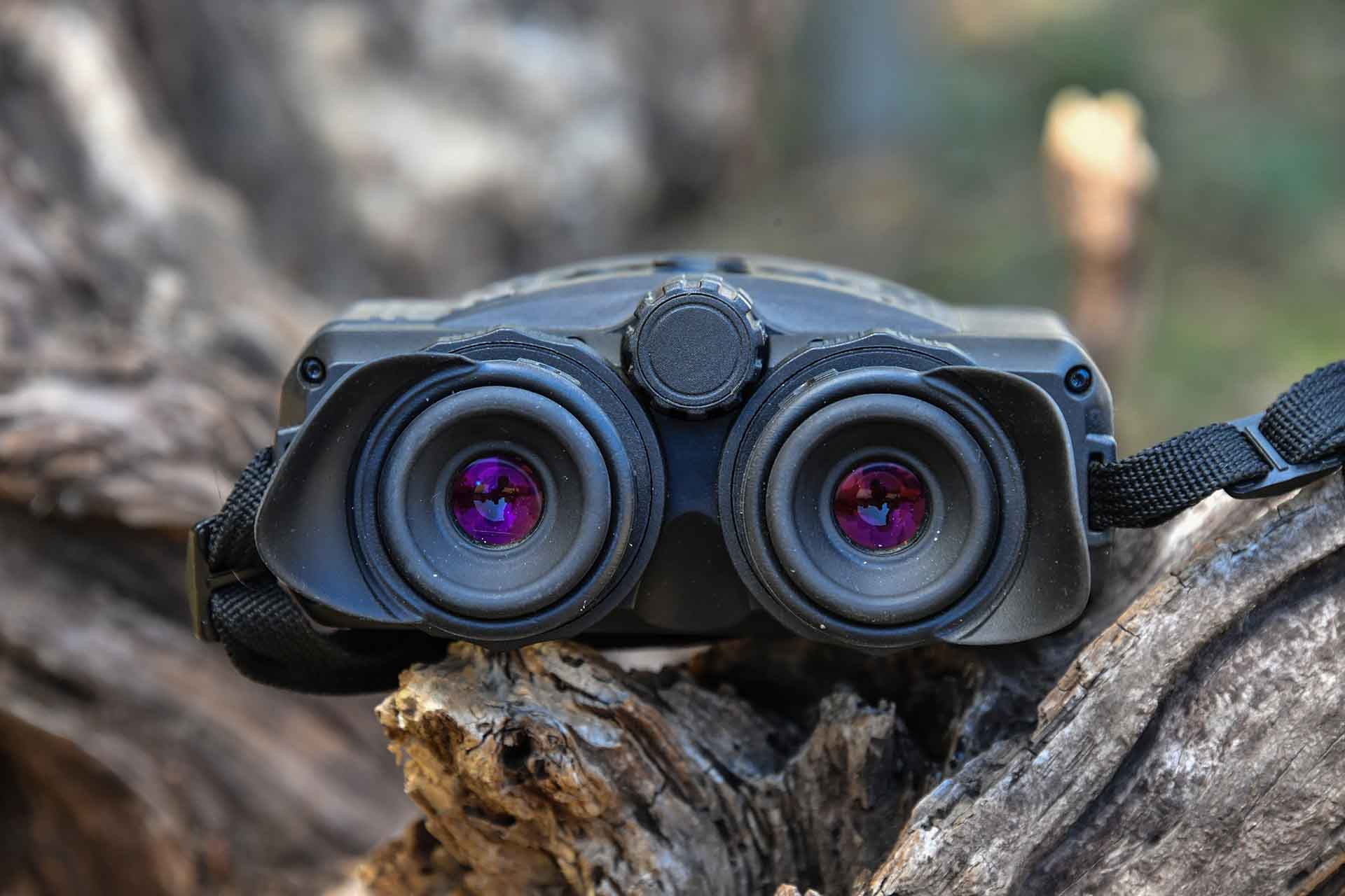 Front view of the Pulsar Accolade XQ38 thermal binoculars