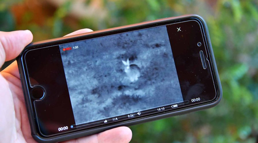 Reviewing recorded video from the Pulsar Accolade XQ38 on an iPhone