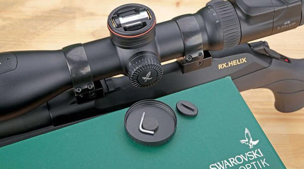 Turrets on the Swarovski dS 5-25×52 P rifle scope for the battery, adjustment tool and Parallax correction