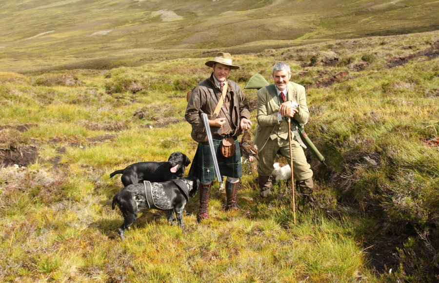 Hunters with pointer dogs on a walked up grouse.