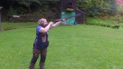 Hunter at the range demonstrates the correct shotgun stance