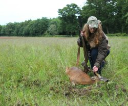 Linda Mellor inspecting the healthy Roe buck
