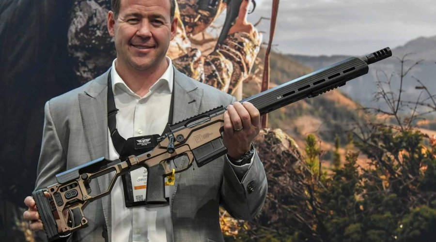 "Christensen Arms MPR rifle with ""Desert Brown"" chassis"