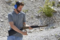 A shooter with the Pedersoli Boarbuster Mark II lever-action rifle