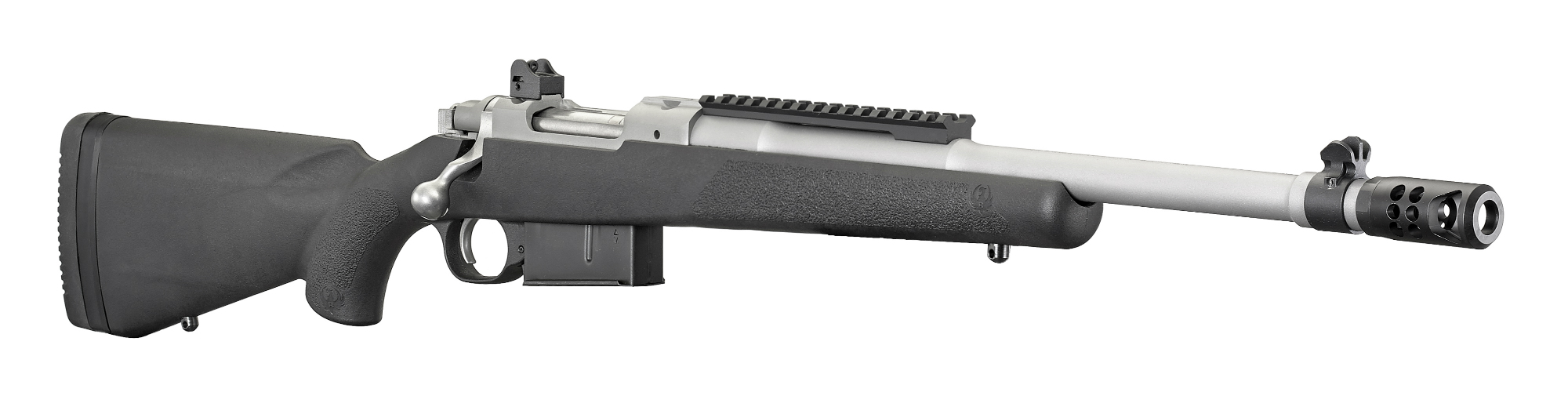 The Scout Rifle in .450 Bushmaster features a Ruger Precision Rifle Hybrid Muzzle Brake