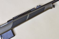 The forend of the Sabatti Rover Compact Scout rifle