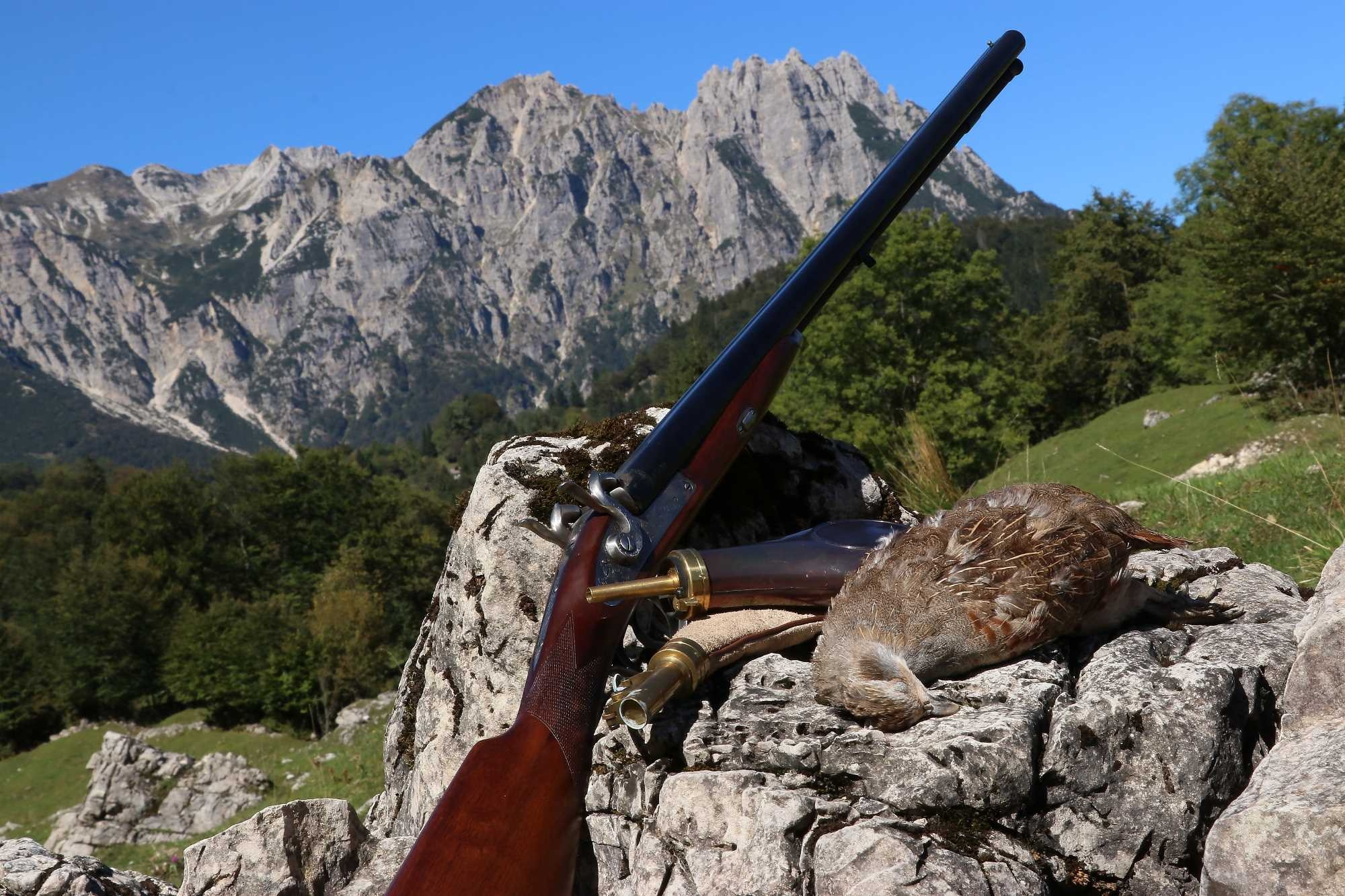 The 20 ga side-by-side shotgun by Davide Pedersoli with grey partridge