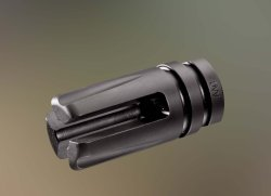 "The AAC three-prong flash hider ""duckbill"" type"