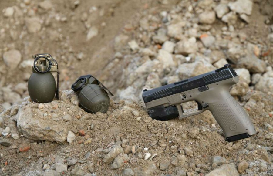 The new CZ hand grenades with CZ pistol.