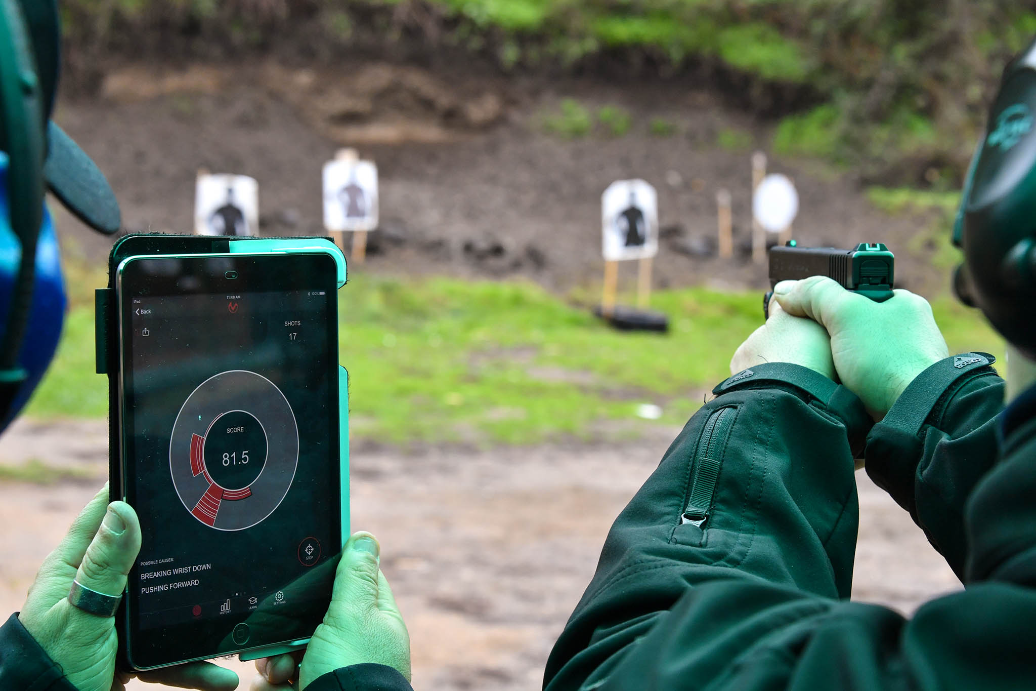 Training session with service handguns and the MantisX firearms training system