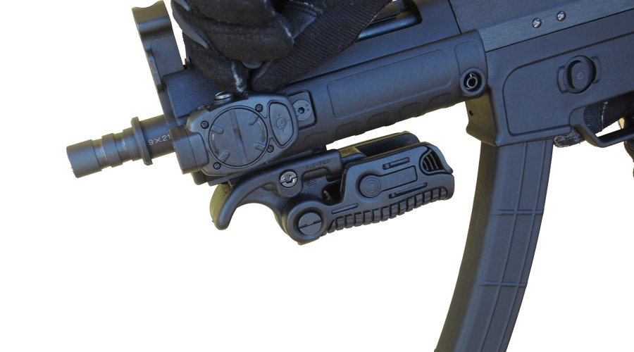 MFT Torch Backup tactical gunlight installed on a Sino Defense Manufacturing SMG-9 semi-automatic short barrel carbine