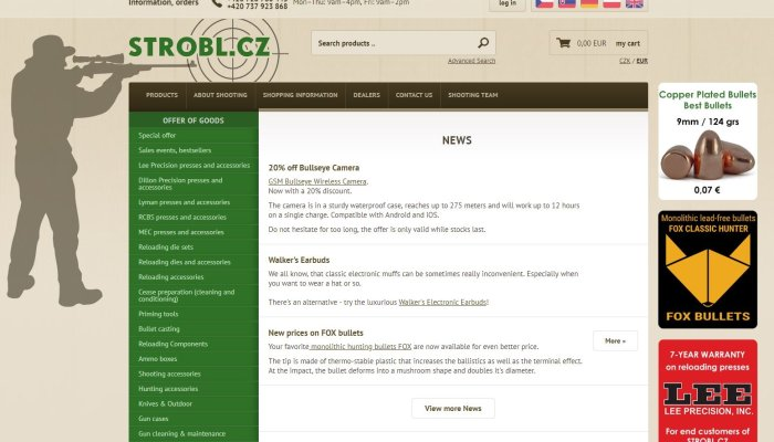 accessories: Dealer presentation: STROBL.CZ, online shop for reloaders, shooters and hunters