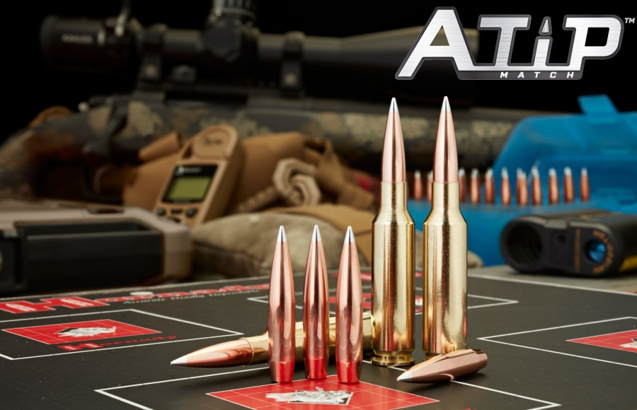 Cartridges and bullets HORNADY A-TIP, with manufacturer's logo.