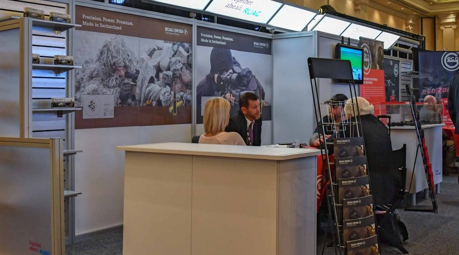 Swiss P ammunition showcase in the RUAG booth