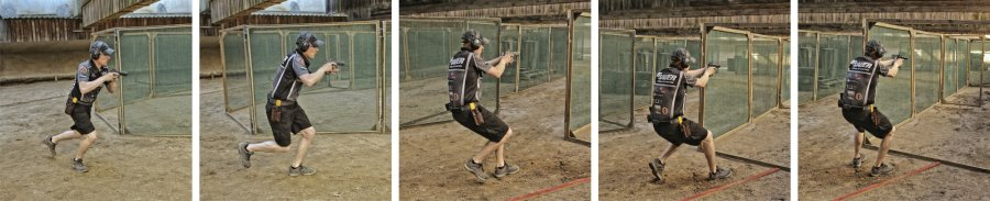 Image sequence with a shooter changing the position and taking the shooting position in dynamic pistol shooting.