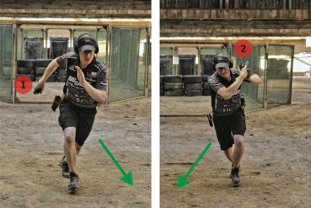 Shooter demonstrates safe weapon handling in a direction opposite to the bullet trap.